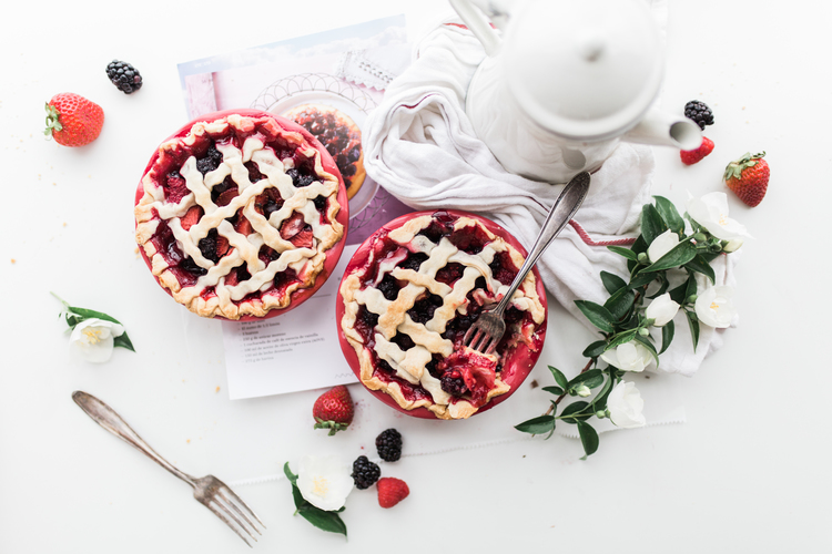 Opens Top view of fruit pies and a coffee pot in a new tab to view in higher resolution